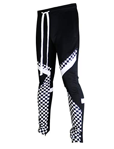 SCREENSHOTBRAND-P11030 Mens Hip Hop Premium Slim Fit Track Pants - Athletic Jogger Diagonal Triangular Color Block Patch Bottoms-Black/Checker-Large