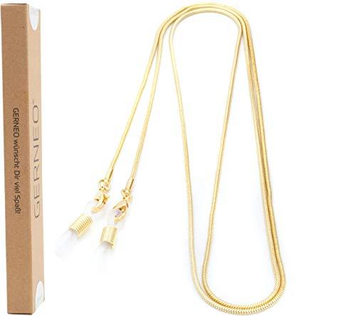 GERNEO - DAS ORIGINAL - Premium Brillenkette & Brillenband in diversen Farben - aus 18 Karat Gold oder 925er Silber - feingliedrig (gold) - Unisex für Lesebrille & Sonnenbrille - Kollektion 2020