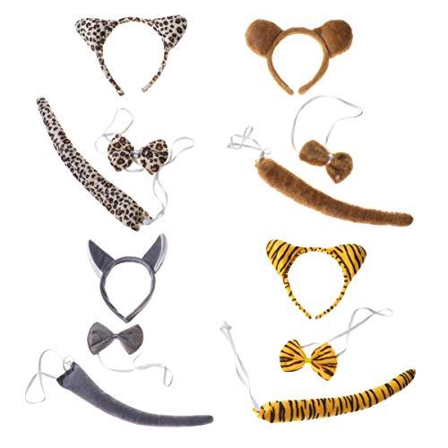 Amosfun 4 Set Kinder Tier Kostüm Set Löwe Tiger Bär Leopard Kostüme mit Stirnband Ohren Haarreif Fliege Schwanz Cosplay Outfit Set für Kinder Halloween Kanerval Party Dekoration