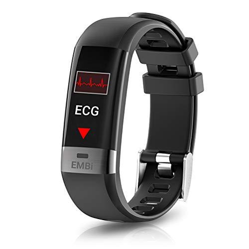 August EMBi Smartwatch Fitness Braccialetto con ECG PPG Uomo Donna Sportivo Smartband IP67 Cardiofrequenzimetro da Polso Pressione Sanguigna Activity Tracker per Android iOS, Display Colorato, Nero
