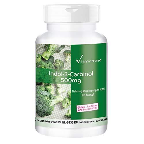 Indol-3-Carbinol 500mg - I3C mit zusätzlichem Brokkoli-Pulver - 90 vegane Kapseln- Hergestellt in Deutschland