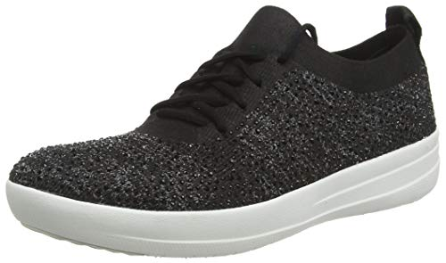 FitFlop Womens F-Sporty Uberknit Black Sneaker - 11