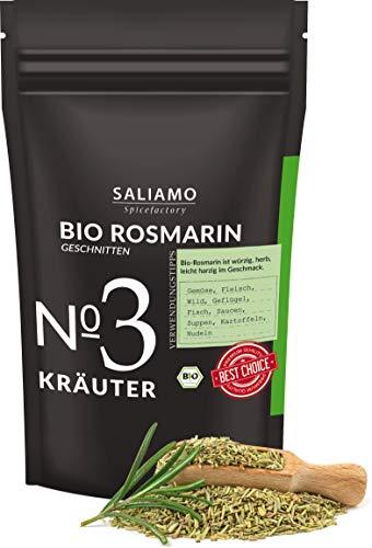 BIO Rosmarin getrocknet, intensives Aroma, auch als Rosmarin Tee, als Pizza und Nudel Sauce Gewürz, mediterranes Gewürz, 250 g | Saliamo