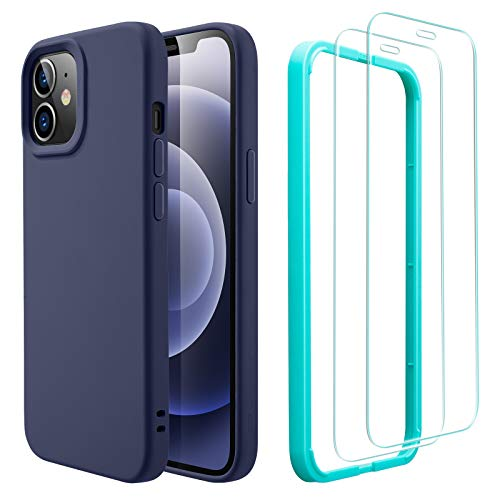 ESR Funda Silicona y 2 Protectores Pantalla Cristal Templado Compatible con iPhone 12/12 Pro (2020) 6,1', Sedoso-Tacto Suave, Forro de Microfibra, Azul Marino