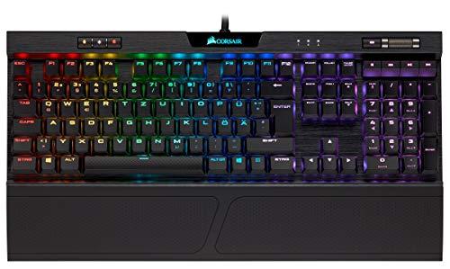 Corsair K70 RGB MK.2 Low Profile Rapidfire Mechanische Gaming Tastatur (Cherry MX Speed: Schnell und Hochpräzise, Dynamischer RGB LED Hintergrundbeleuchtung, QWERTZ DE Layout) schwarz