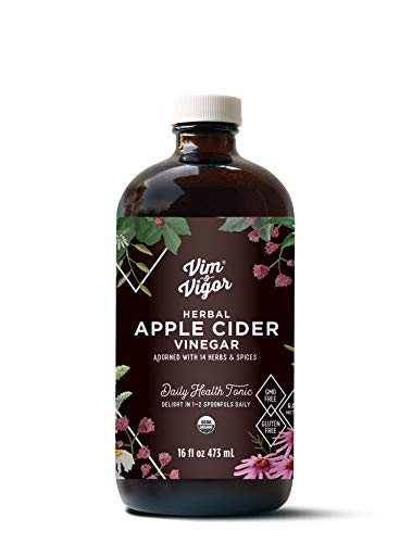 Vim & Vigor, Herbal Tonic Infused Daily Supplement, Shots, Apple Cider Vinegar, 14 Herbs, Raw, Whole, Organic, Homeopathic, USA Made & Sourced