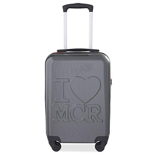 KitKase I Love MCR (Manchester) Wheeled Cabin Size Travel Case Carbon with Red Zipper