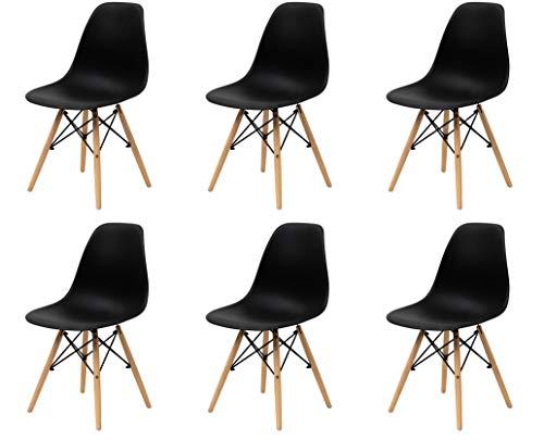 Sedia Da Pranzo o Ufficio con Gambe in Legno 54X46X82cm Nera 6 pezzi