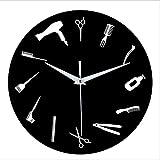 youmengying Co.,ltd Relojes De Pared Reloj Decorativo De Acrílico Mudo, Dormitorio, Sala De Estar, Herramientas De Peluquero, Reloj De Pared con Personalidad Simple Creativa De 12 Pulgadas, Negro