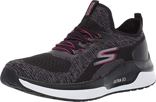 Skechers Damen Go Run Steady Sneaker, Schwarz(Black Textile/Hot Pink Trim Bkhp), 39 EU
