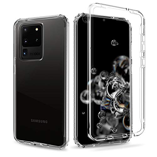 Elegant Choise Galaxy S20 Ultra Case, Shockproof Clear Case with Hard PC Shield + Soft TPU Bumper Cover Case for Samsung Galaxy S20 Ultra 5G 6.9 Inch(Clear)