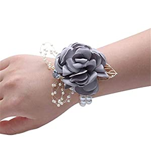 Flonding Girl Bridesmaid Wrist Corsage Bridal Silk Wrist Flower with Faux Pearl Bead Stretch Bracelet Wristband Gold Leaf for Wedding Prom Hand Flowers Decor (Light Gray, Pack of 1)