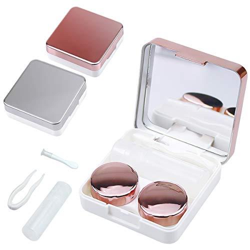Fodlon Kontaktlinsenbehälter, 2 Stück Reise Mini Kontaktlinsen Aufbewahrungsbox, Kontaktlinsendose mit Spiegel links/rechts (Rotgold + Silber)