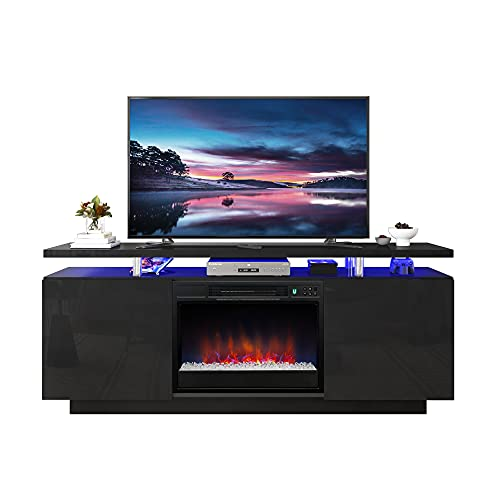 POVISON Modern Fireplace TV Stand, Wood LED Entertainment Center with Storage, 6 Fireplace Flame Effects & RGB Light Strip Entertainment Stand for TVs up to 70 inch (Black)