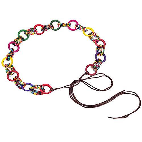 DSCHZ Simple y elegante decoración damas viento étnico cuerda de cera cuerda tejida a mano estilo bohemio cintura cadena vestido accesorios cinturón