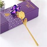 gpwdsn 24k Gold Rose,Lange Stiel Überzogene Folien-Blume Freiem Luxuxgeschenk Kasten Valentinstag...