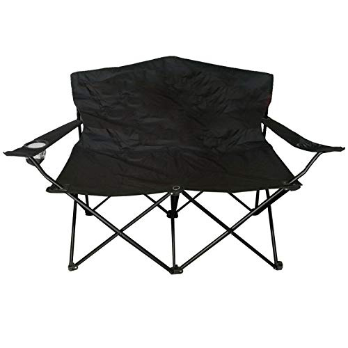LINDER 2-Sitzer Angler-Bank 120x100x85cm schwarz Metall Polyester Campingstuhl faltbar