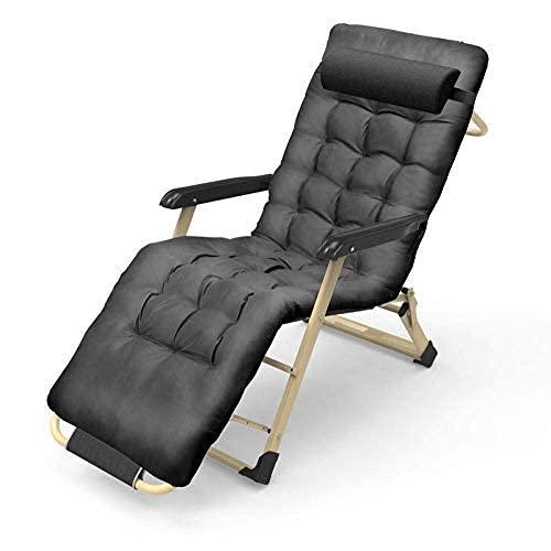 Tumbona Silla de Gravedad Cero para Camping, sillón reclinable Plegable, sillón reclinable de jardín reclinable, sillón Plegable Acolchado, Peso máximo 180 kg - Gris + Almohadilla de algodón