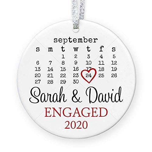 Personalized Engagement Gift with Date for Newly Engaged Couple, First Christmas Engaged Ornament 2020, Proposal Gift for Her - 3 Flat Circle Porcelain Ornament - Gold & Silver Ribbon   PGM-OR-44a