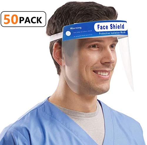 Safety Face Shield, [50 Pack] Adjustable Elastic strip, Transparent Full Face Protective Visor with Eye & Head Protection, Anti-Splash Facial Cover for Women Men
