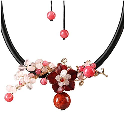 KGDC Necklaces for Women Girls Chinese Style Thick Rope Necklace Pink Crystal Pendant Ladies Clavicle Chain Sweater Chain Gift for Mother (Length Adjustable/Red) Choker Necklaces