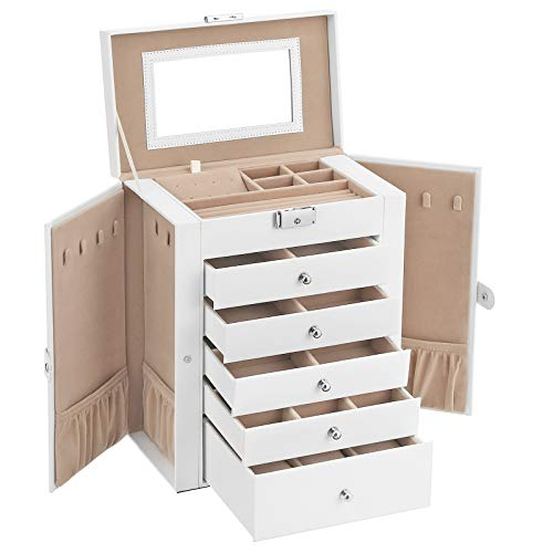 SONGMICS Jewelry Box, 6-Tier Large Jewelry Case with Drawers, Mirror and Lock, Storage Organizer for Bracelets Earrings Rings Necklaces Watches, Gift, White UJBC152W01