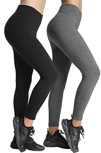 4How 2er Pack Sport Leggins für Damen Baumwollleggings Lang blickdichte Sporthose Fitness Yoga Pants Tights Baumwolle Schwarz Grau M(36/38)