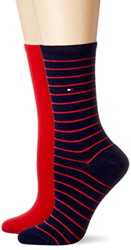 Tommy Hilfiger Frauen Small Stripe Socken, Rot/Navy, 39/42 (2er Pack)
