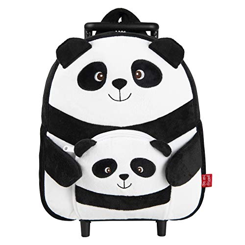 PERLETTI Carry On Backpack Plush Panda for Children 3 4 5 Years Old - Toddler Boy Girl Rolling Handbag with Detachable Wheels and Cute Soft Pocket - Small Roller Bag for Kids - 33x29x11 cm (Panda)