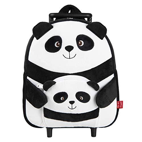 PERLETTI - Trolley Peluche Panda Nero Bianco Giocattolo da Bambino Bambina 2/5 Anni - Zainetto Scuola Asilo Bimba Bimbo con Ruote e Spallacci - Borsa Bagaglio da Viaggio - 29x33x11 cm (Panda)