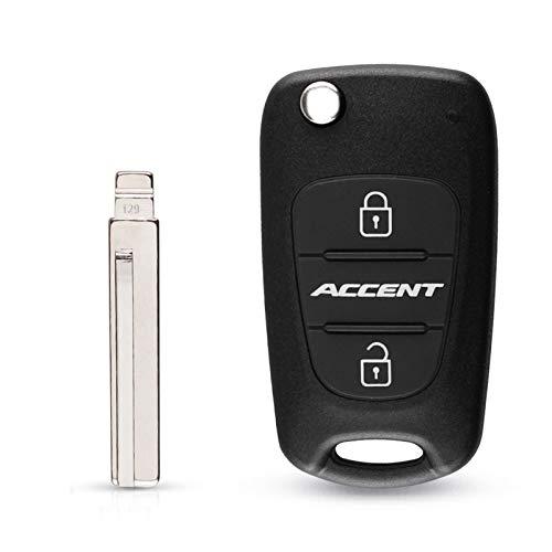 MENGGOO Flip Plegable tecla remota Caja de cáscara 3 Botones Ajustar para Fit for Hyundai Accent Inscripción sin Llave Fob CUBIERTE CUBIERTE DE Alarma DE CUCHO