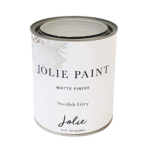 Jolie Paint - Premier Chalk Finish Paint - Matte Finish Paint for Furniture, cabinets, Floors, Walls, Home Decor and Accessories - Water-Based, Non-Toxic - Swedish Grey - 32 oz (Quart)