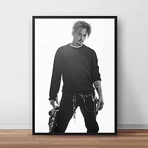 Pintura de arte de lienzo 30x50cm sin marco Jack Sparrow Actor Johnny Depp póster foto imagen arte pintura decoración de pared pintura decorativa para el hogar