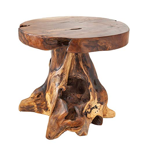 Invicta Interior Baumstamm Hocker Root Teak Hocker massives Wurzelholz Sitzhocker Beistelltisch Natur Tisch Holztisch Holzhocker Fußbank