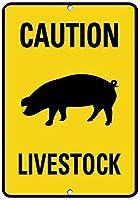 簡単に取り付けるための事前穴あけ、家畜の注意豚の行動標識農場の標識一般的なスタイル2220駐車場の標識面白いパブの家の装飾アルミニウムの金属の標識
