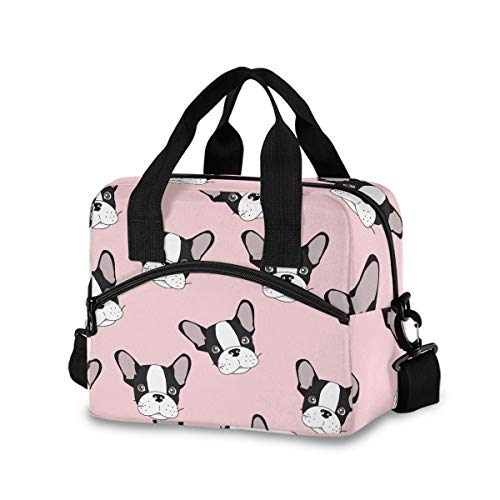 Blueangle French Bulldog Print Insulated Lunch Bag with Detachable Shoulder Strap & Carry Handle, Eco-friendly Cooler Bag Tote Bag,School Lunch Box for Kids,Men,Women