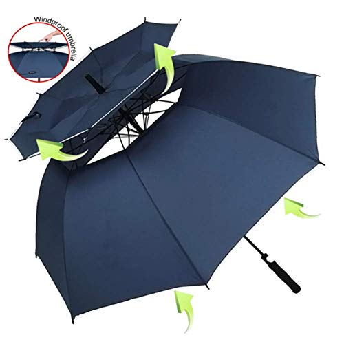 HFM Golf Umbrella, Windproof Sunscreen 62inch Large Umbrella for Double Canopy Automatic Open Vented Stick Umbrellas,Navy