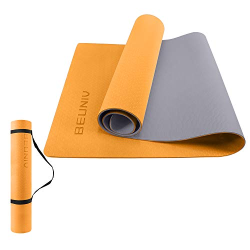 BEUNIV Wide Yoga Mat Non Slip Travel Yoga Mats Exercise Mat Eco Friendly Workout Mat for Yoga Pilates and Floor Exercise Thick Fitness Mat with Carrying Strap (Orange)