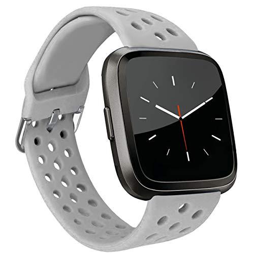 MroTech Compatible con Fitbit Versa Correa/Fitbit Versa Lite Edition Correa/Fitbit Versa 2 Correa, Pulsera de Repuesto Silicona para Fit bit Versa/Versa2 Smartwatch Banda Mujer Hombre,Gris