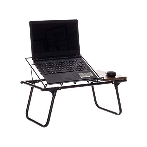 Mesa de Colo Dobrável para Notebook Aramado c/Suporte p/Mouse em Madeira - Metaltru Cor:Marrom