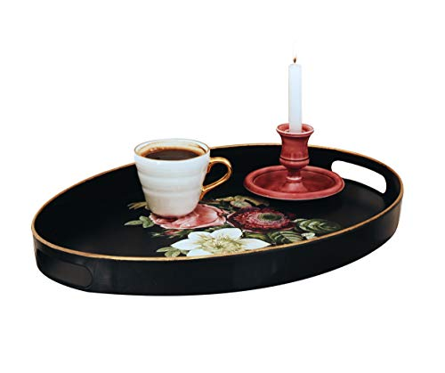Sandiklife Serving Tray Oval Decorative Tray for Coffee Table Suitable for Ottoman Bed Outdoor Tea or Food Small Oval Rose