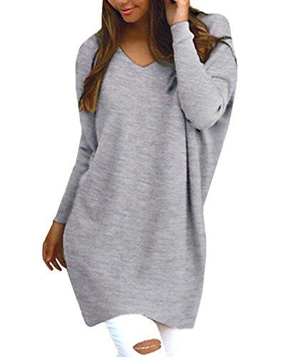 Style Dome Sweatshirt Damen Casual Langarm Rundhals Pullover Oversize Einfarbig Bluse Jumper Grau-F723402 M