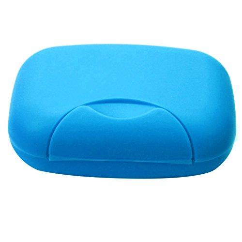Gosear Viajes jabón plástico Plato Porta contenedor Almacenamiento Caja con Cerradura tamaño Grande Azul
