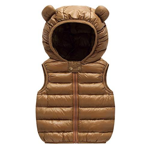 Kinder Cartoon Steppweste Outdoorjacket Baby-Jungen Windweste Niedliches Jacke mit Kapuzen Softshelljacke 0-4 Jahre Alt