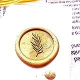 SDFDF Sello De Cera De Flor De Hoja, Sello De Sobre Sello De Cera De Sellado De Bricolaje Sello De Decoración De Mango De Madera De Diseño Personalizado Vintage