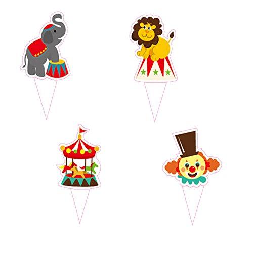 Princess-J Circus Carnival Theme Favor Tags Cupcake Bun Cake Topper Party Decoration, Pack of 95