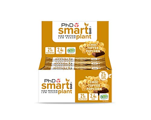 PhD Smart Bar Plant-High Protein Low Sugar, Vegan approved, Chocolate coated Protein Bar , (Choc Toffee Popcorn), 12 Bars