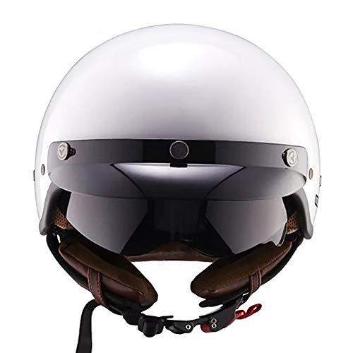 MTSBW Motorrad-Sturzhelm, Retro Jet-Helm mit Fiberglas Shell, großen Sichtfeld, mit Innenvisier, Anti-Scratch-Technologie, geeignet für die Stadt oder auf der Highway,M