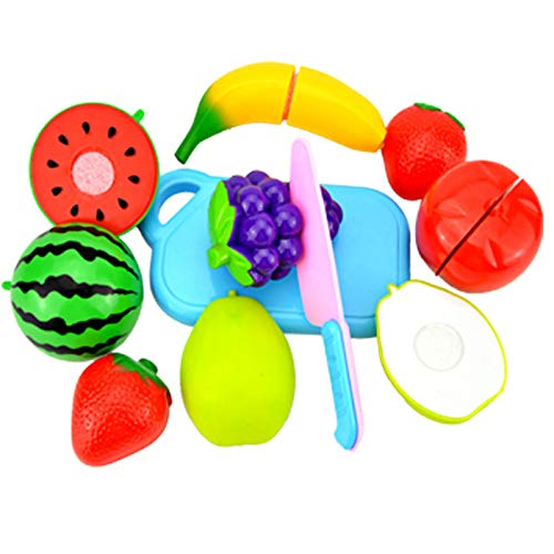 LLEH Cocina Infantil - Cortar Frutas Verduras Juguetes Madera Alimentos de Juguete Frutas y Verduras Juguete con 8 PCS Set de Cocina para Niños Niñas 3 4 5 Años+,1