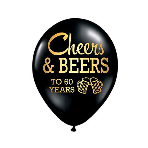 Cheers and Beers to 60 Years, 60th Birthday Party Balloons, Set of 3, 60th Birthday Party Decorations, 60th Birthday Ideas, Balloons, Metallic Gold and Black, 60th Birthday Decorations